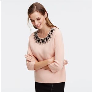 Ann Taylor Blush Embellished Sweater